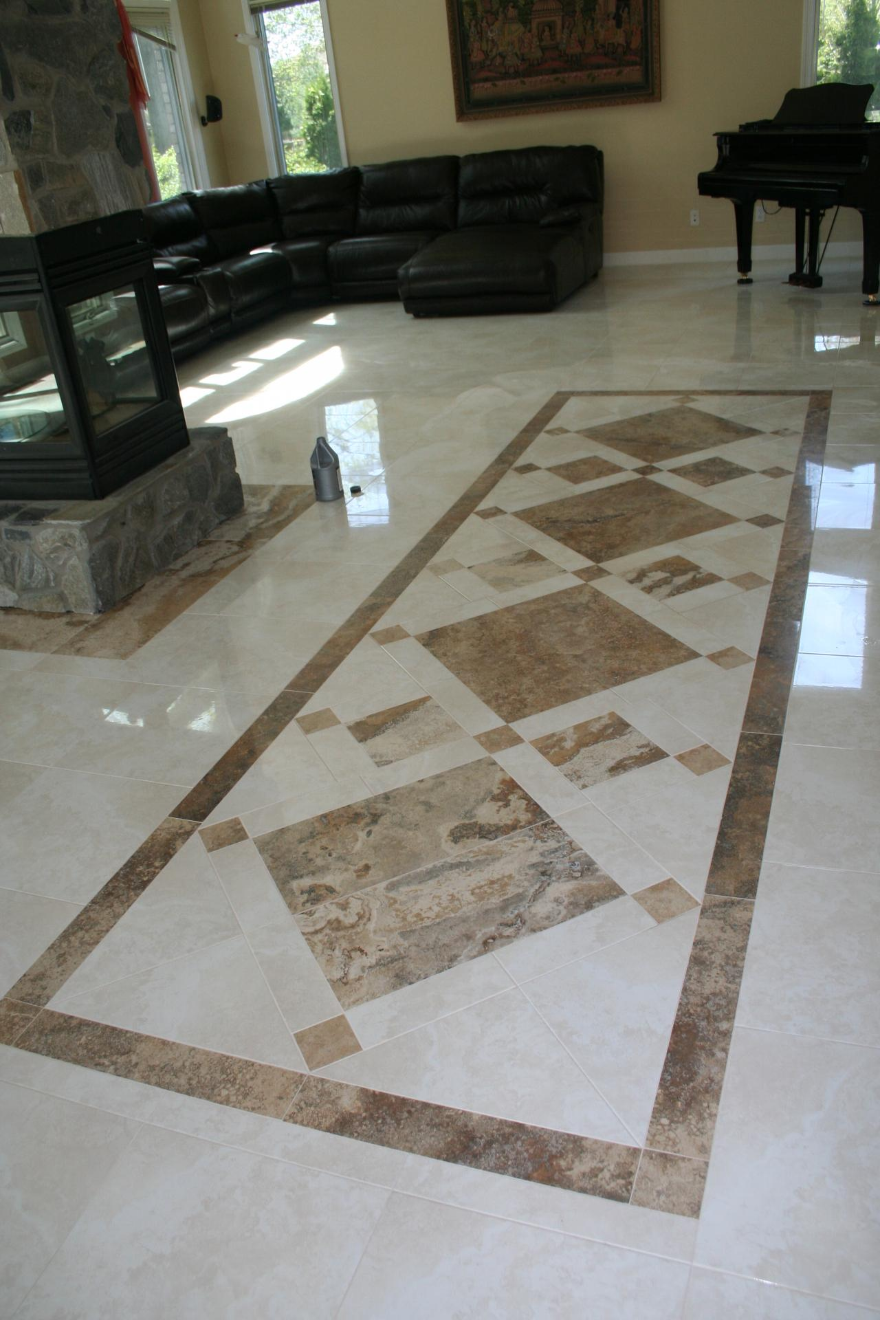 Nest homes construction floor and wall tile designs custom travertine inlay travertine custom design tile dailygadgetfo Image collections