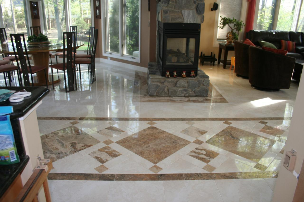 Nest homes construction floor and wall tile designs large ceramic tile with travertine carpet inlay dailygadgetfo Images