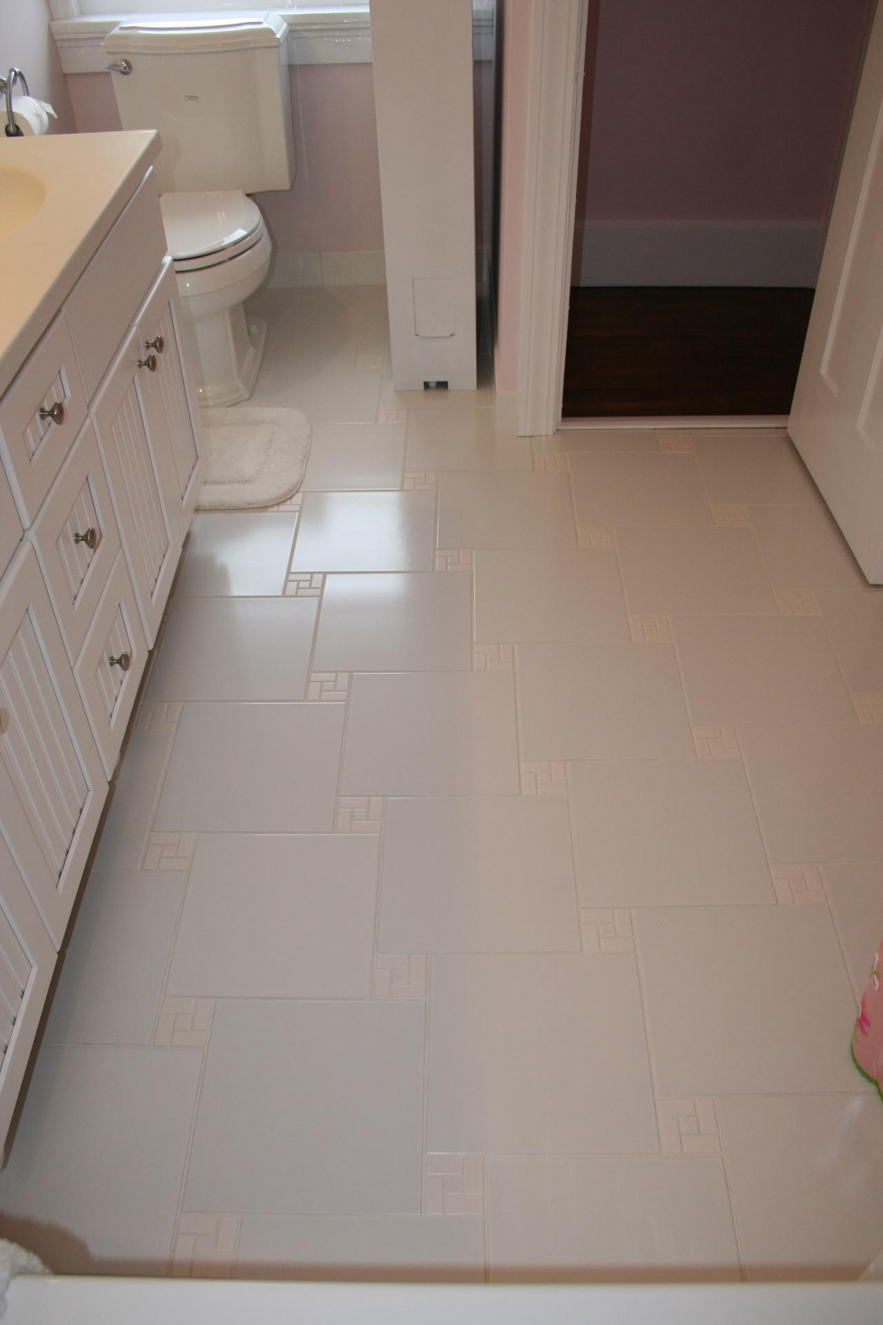 Nest homes construction floor and wall tile designs white 2x2 mosaics surrounded with 12x12 tile pinwheel pattern flooring dailygadgetfo Images