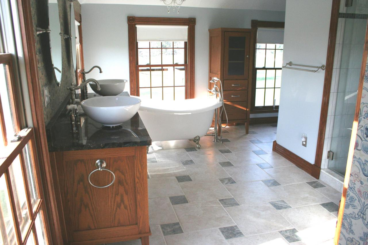 Nest homes construction floor and wall tile designs chesterland ohio master bathroom with pinwheel pattern tile combining 6x6 and dailygadgetfo Choice Image