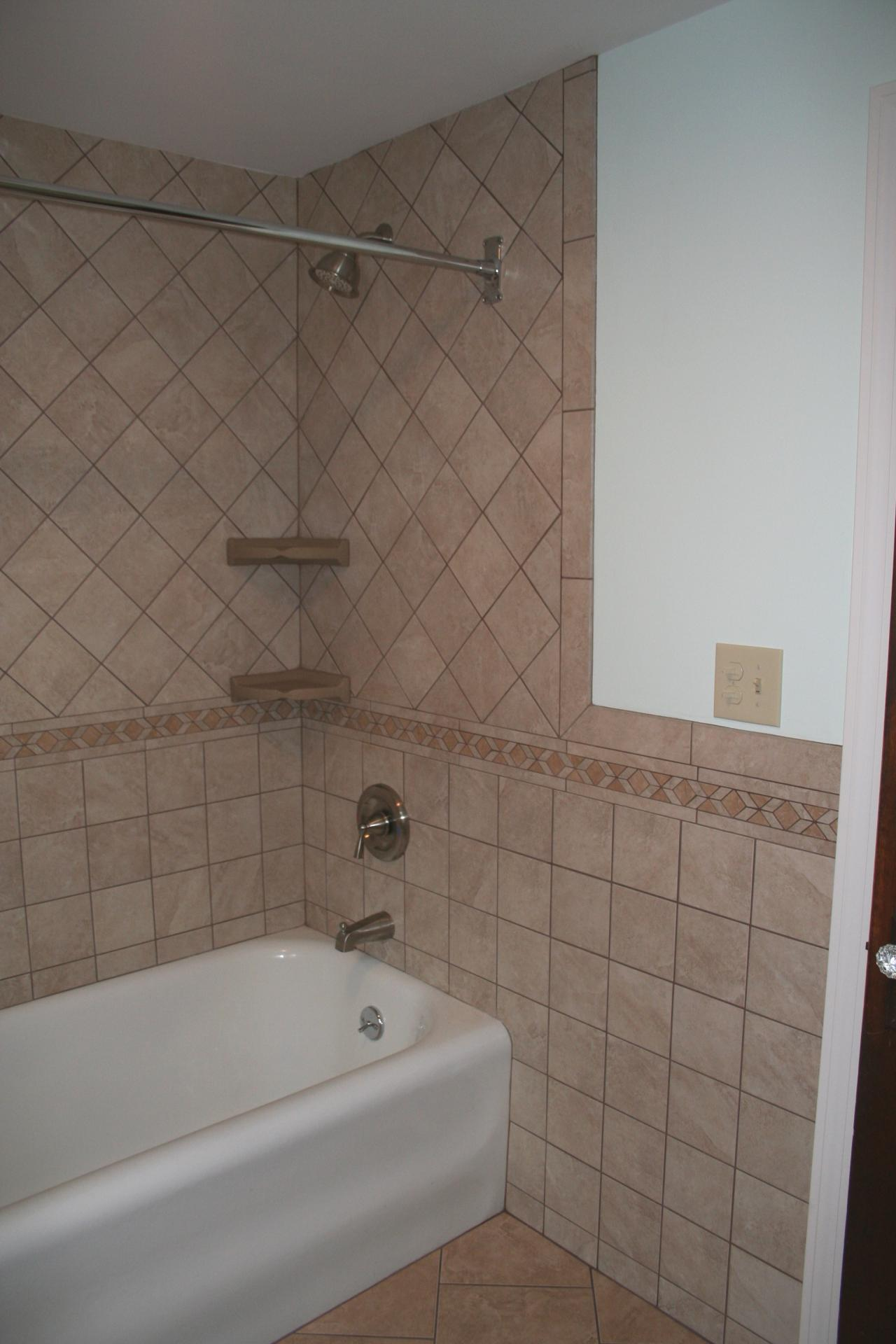 tile shower wall 6x6 wall tile with 4x12 border